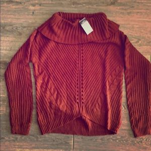 NWT Rue 21 cable knit cowl neck small rust sweater